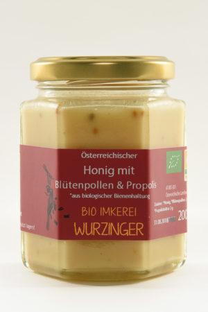 Honig mit Blütenpollen und Propolis